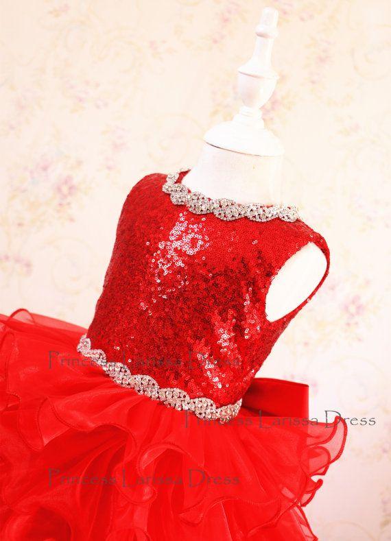 Brillo rojo vestido del desfile vestido de la por LittleGracious