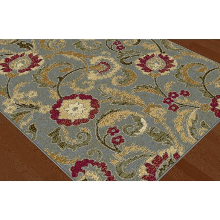Tayse Rugs Laguna Blue 5 ft. 3 in. x 5 ft. 3 in. Round Indoor Area Rug-5056 Blue 6' Round - The Home Depot