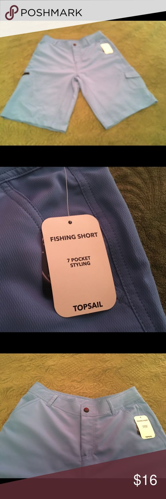 Topsail Blue Fishing shorts XL 🐠🦈🐋🐟 XL blue Topsail Fishing shorts, 7 pocket Styling, 100% Polyester. Perfect for wearing in the water. Great for summer activities. J. Khaki Shorts Athletic