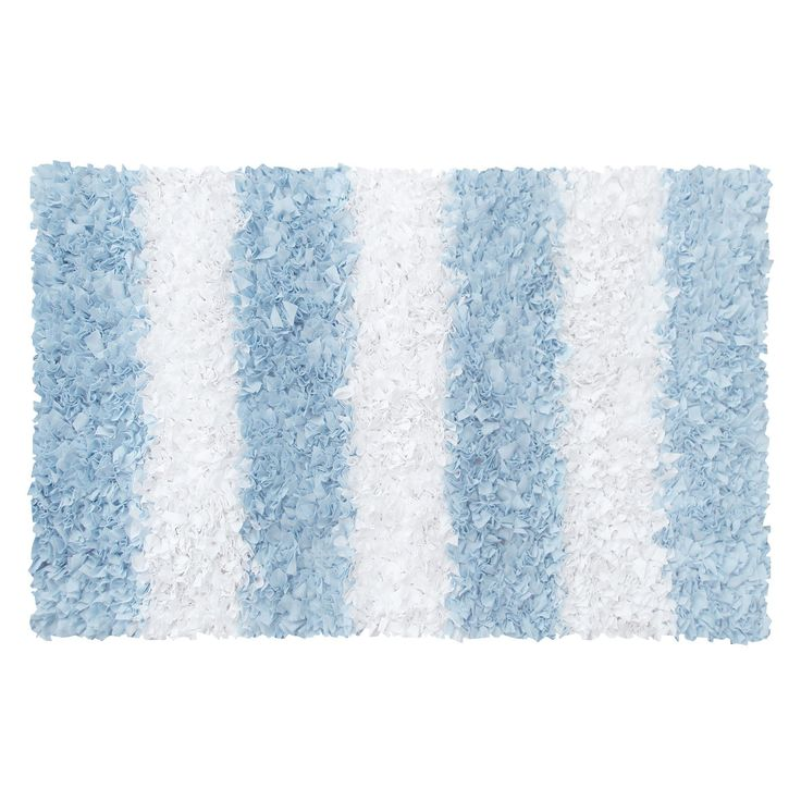 Rug market kids blue stripe shag rug baby boy room for Rugs for boys bedrooms
