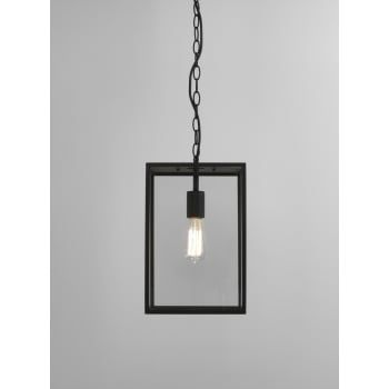 An exterior box lantern design ceiling pendant in a black finish with clear glass panels. The light is suspended on a chain which can be adjusted at the point of installation to suit most ceiling heights. It is double insulated for safe use without need of an earth wire and is IP23 rated for safe outdoor use