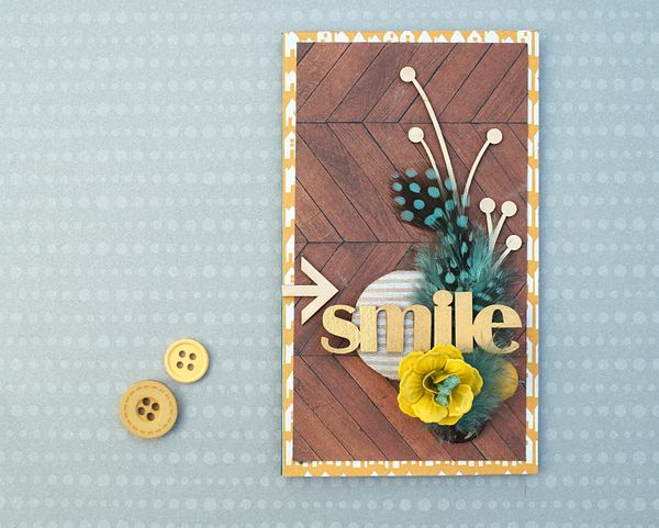 A card using embellishments from Trinket Track and chipboards from Wycinanka