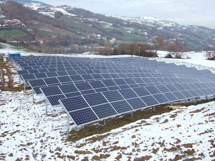 A small 200 kW solar park beneath the Italian mountains. Not all parks benefit of a flat land.