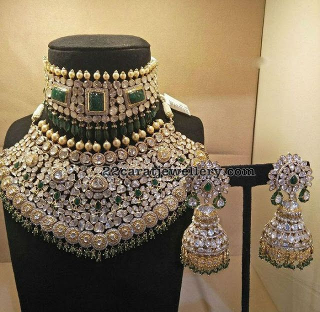 Grandeur Pachi Necklace and Jhumkas