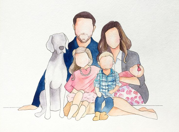Faceless family portrait with a dog. $30 and up for Custom watercolor faceless family paintings by brushwork by Justine. On Instagram as brushwork.by.justine. I would love to paint for you! Direct message me to set up a custom family portrait. #thefreckledfox #brushworkbyjustine #facelessfamilyportrait #faceless #hopeformartin #watercolor #watercolour #photography #weim #dog