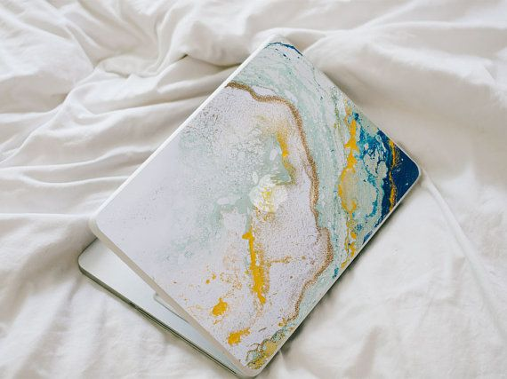 Glitter Agate MacBook Decal - Blue, Yellow, Mint and Gold Vinyl Laptop Skin by LaurenbyDesign on Etsy