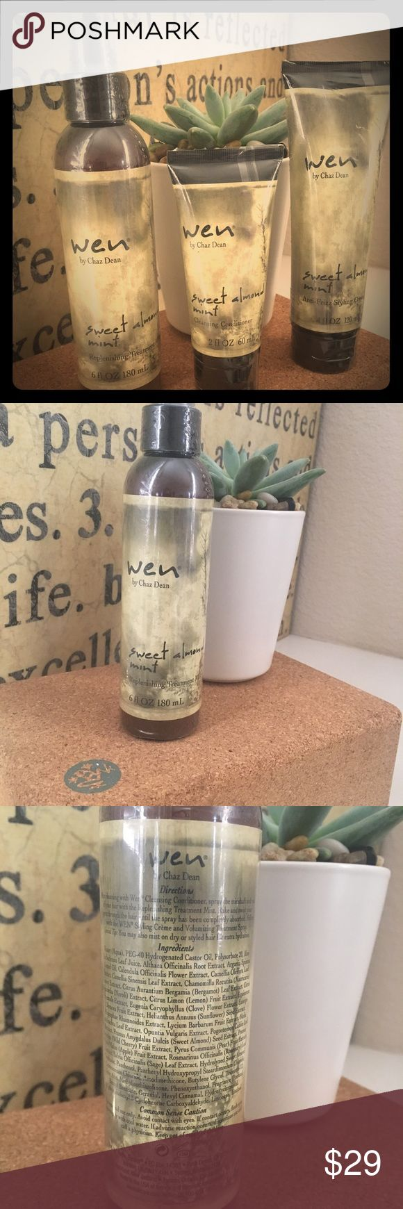 ✨Wen Hair Care Bundle New condition in sealed package. Sweet Almond Mint.6oz Replenishing Treatment Mist, 4 oz Anti-frizz Styling Creme and 2 oz Cleansing Conditioner. Accessories Hair Accessories