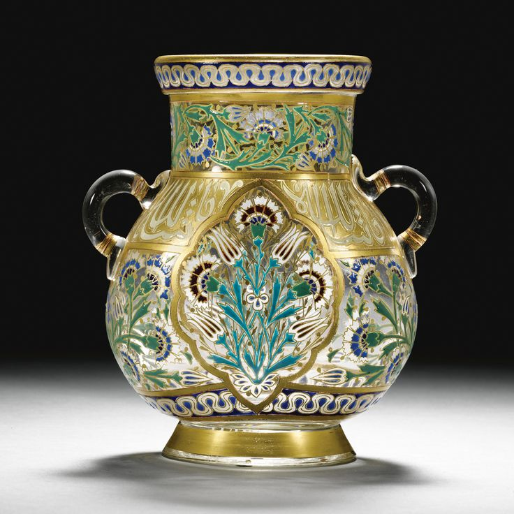 A J & L. Lobmeyr gilded and enamelled two-handled vase with cursive inscription, signed with monogram, Vienna, late 19th Century | Lot | Sotheby's