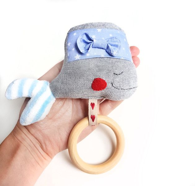 Baby teether with wooden ring, whale toy, gray toy