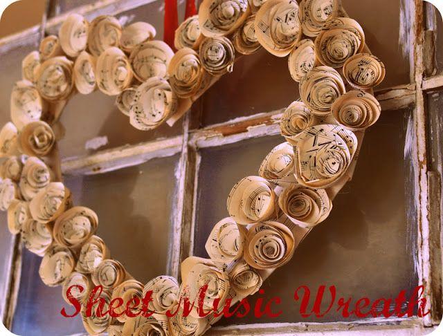 DIY Sheet Music Rosette Wreath!  #rosettes #wreaths
