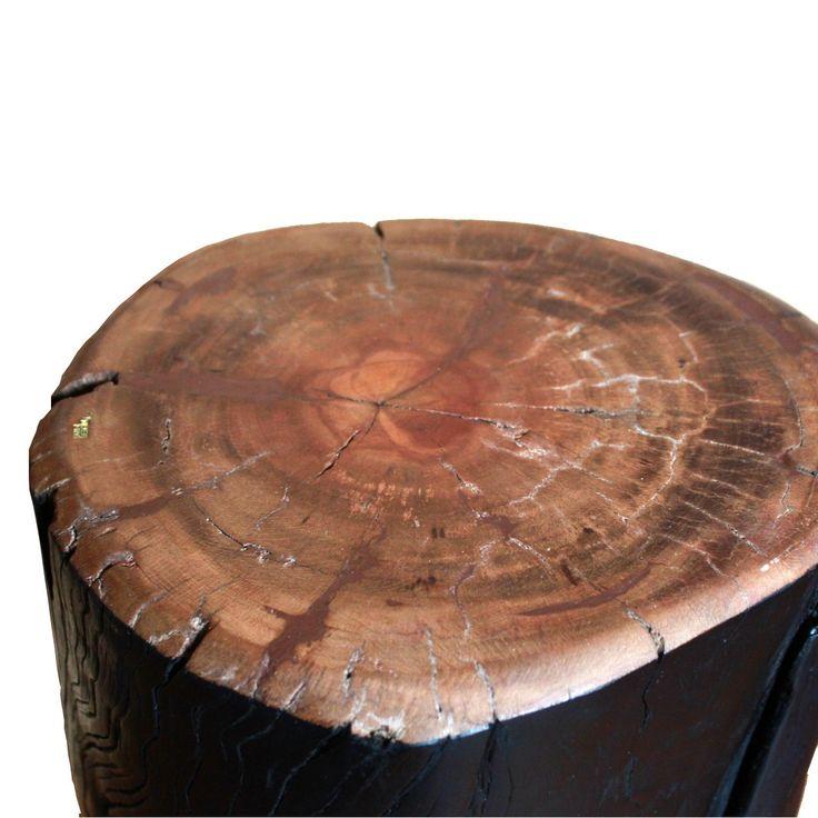 Banco Noite | Banco ou mesa lateral em  madeira de eucalipto reaproveitada na cor preta fosca.