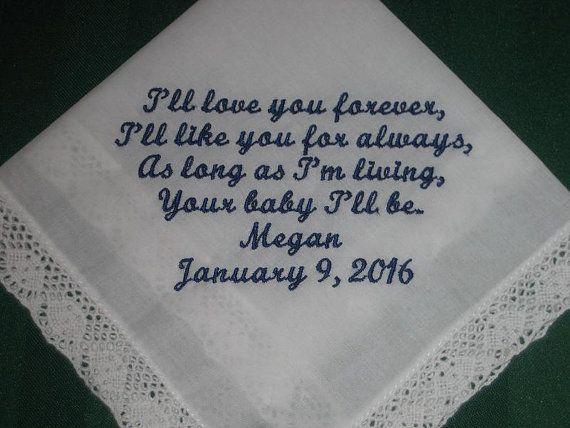 Mother of the Bride Handkerchief-Hanky-Hankie by EmbroiderybyLinda