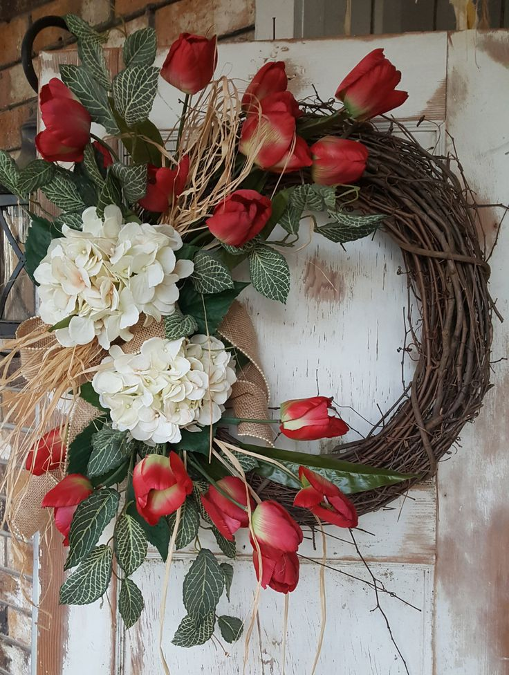 Easter wreath, Front Door Wreath, Tulip Wreath, Hydrangea wreath, Spring Wreath, Summer Wreath, Wreath, Door Wreath, Spring Door wreath, Summer door wreath by FarmHouseFloraLs on Etsy