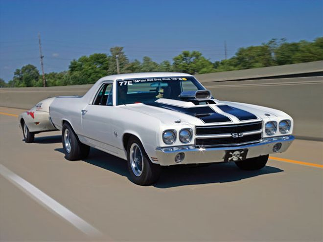 Hrdp 0803 25 Z+custom Street Racing Cars+1971 Chevy El Camino Ss Trailer Pull