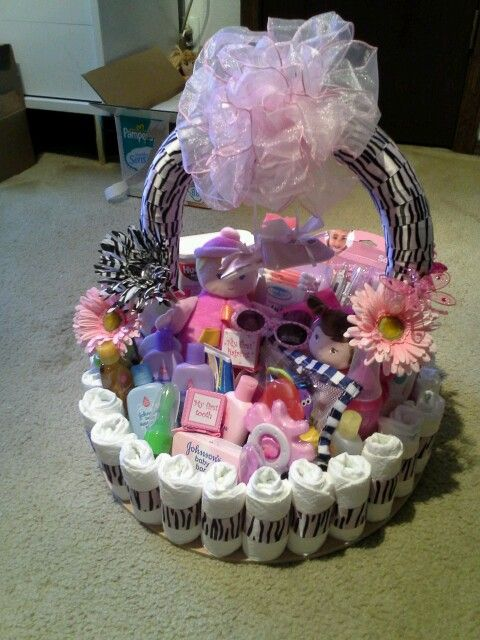 32 best images about diaper basket on pinterest diaper for Pink diaper bouquet