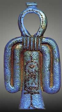 Tyet or Isis Knot, designed as reed bundle loop for mooring ships to shore. Used in Ancient Egypt as birthing amulet and grave ornament. Often wielded by Tawaret, hippo-croc-lion underworld goddess. The Ankh is an untied or loosened Tyet knot. It identifies an immortal soul who can ascend with Ra at dawn in solar barque having untied the mooring loop that binds it to the material plane.