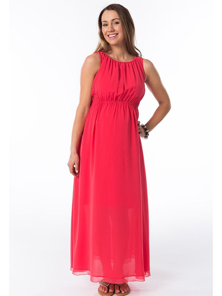 Peach Melba Maxi Breastfeeding Dress from breastmates.co.nz -- This warm peachy-pink maxi is lined to just below the knees and floats beautifully over your baby bump. With hidden breastfeeding openings in the bodice, it's gorgeous for summer pregnancy wear.