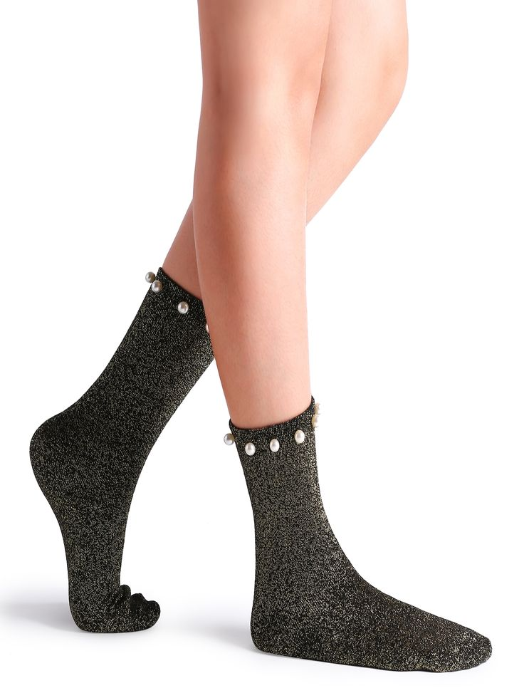 5$  Watch here - http://di6if.justgood.pw/go.php?t=16319 - Black Pearl Embellished Glitter Crew Socks 5$