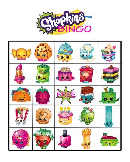Shopkins Birthday Party Bingo File FREE