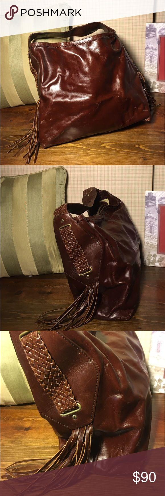 Reddish brown Cole Haan hobo shoulder bag Cole Haan leather fringe hobo shoulder bag. Cole Haan Bags Hobos