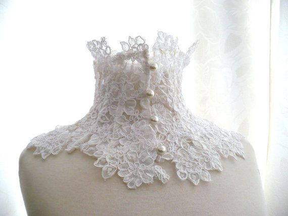LACE NECK COLLAR  white ivory alencon lace by KarybdisAtelier