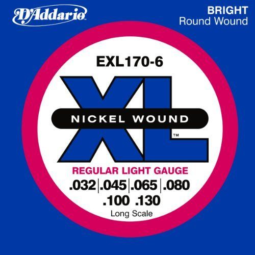 D'Addario EXL170-6 6-String Nickel Wound Bass Guitar Strings, Light, 32-130, Long Scale by D'Addario. $17.89. From the Manufacturer                EXL170-6 is a 6-string version of the best-selling D'Addario bass set. With the addition of the .130 low B and wound .32 high C strings, this set offers the ideal combination of distinctive bright, booming tone and comfortable feel. The most versatile and universally appealing set for all playing styles. Fits long scal...