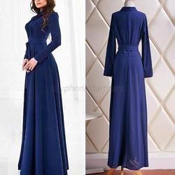 Women Long Sleeved Halter High-necked Belt Evening Party Grown Maxi Skirt Dress