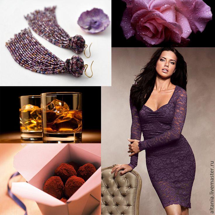 Купить Midnight Rose - серьги - фиолетовый, серьги, серьги из бисера, длинные серьги, бижутерия из бисера