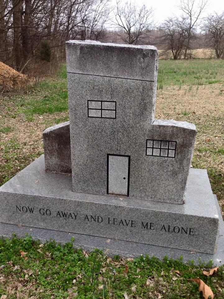 Cemetery in Kentucky. Headstone shaped like a house and reads