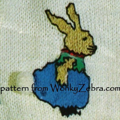WZ127 rabbit motif on vintage baby cardigan jacket