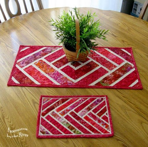 Red Broken Herrringbone Table Runner and mug at Freemotion by the River ~ table runners are a perfect way to use up blocks and wouldn't this make a perfect gift!