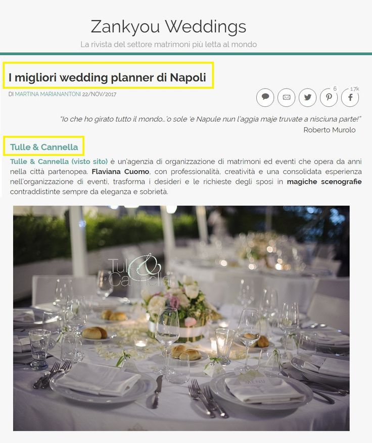 Top ten of Best Wedding Planner in Naples, Italy, by Zankyou Weddings! Indovinate chi è tra i migliori wedding planner di Napoli per il 3° anno consecutivo? ^_^