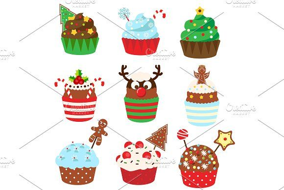 New Year Christmas cupcakes by Bunny's Little Shop on @creativemarket