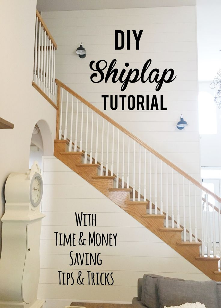 DIY Shiplap Tutorial - Time AND Money Saving Tips and Tricks - A very thorough and detailed tutorial! - Lady's Little Loves #shiplap #shiplapwall #shiplaptutorial #stairs #farmhouse