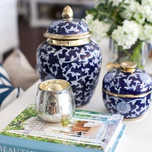 """658 Likes, 9 Comments - Hamptons Style (@hamptonsstyle) on Instagram: """"The Zaffre ceramic range is trimmed with gold and is a deep hue of indigo. It looks amazing with…"""""""