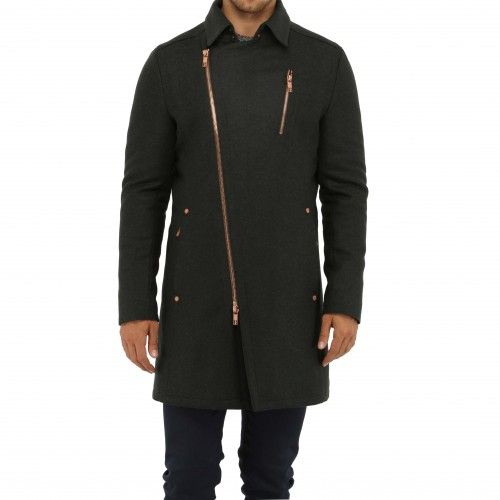 Bikkembergs ¾ Asymmetrical. Shiny rose gold hardware adds impact to a tailored grey coat. Details include a sophisticated collar, zip sleeve cuffs, leather back panel, chest zip pocket, two welt side pockets, and an asymmetrical zip closure.
