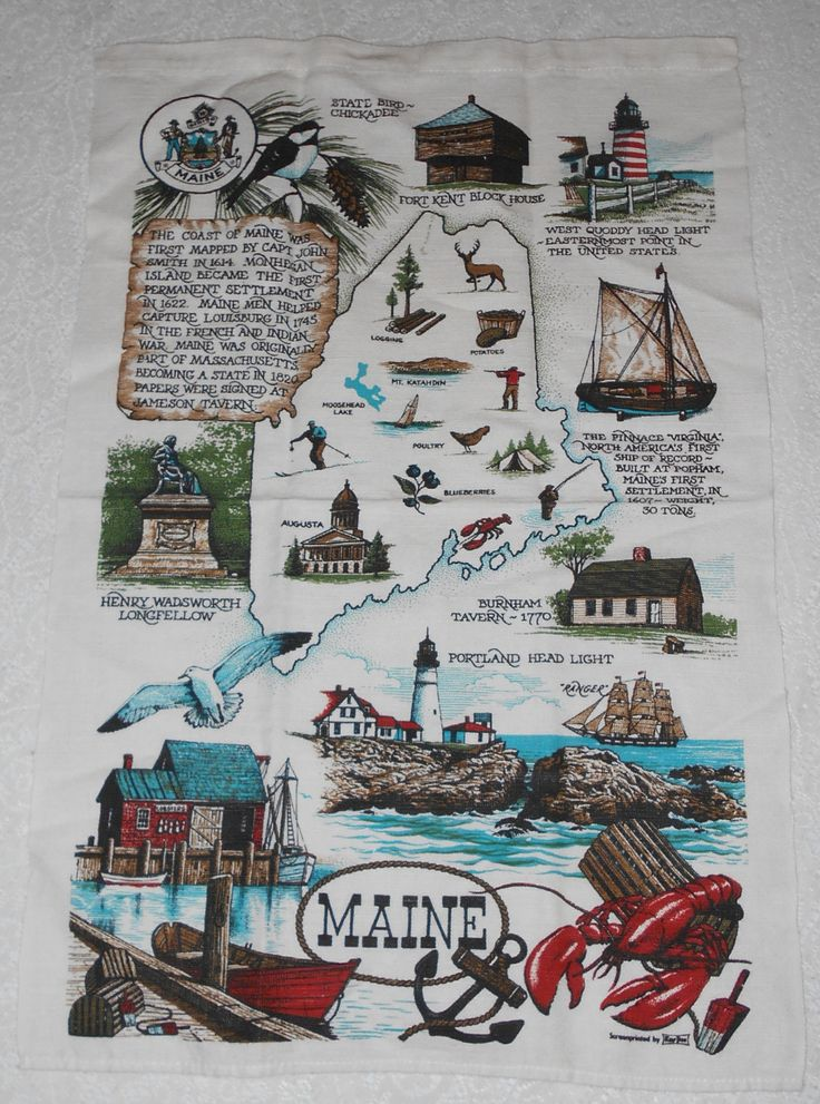 Vintage 1970s State of MAINE Linen Tea Towel Made by Kay Dee – Tourist Attractions Map In Maine