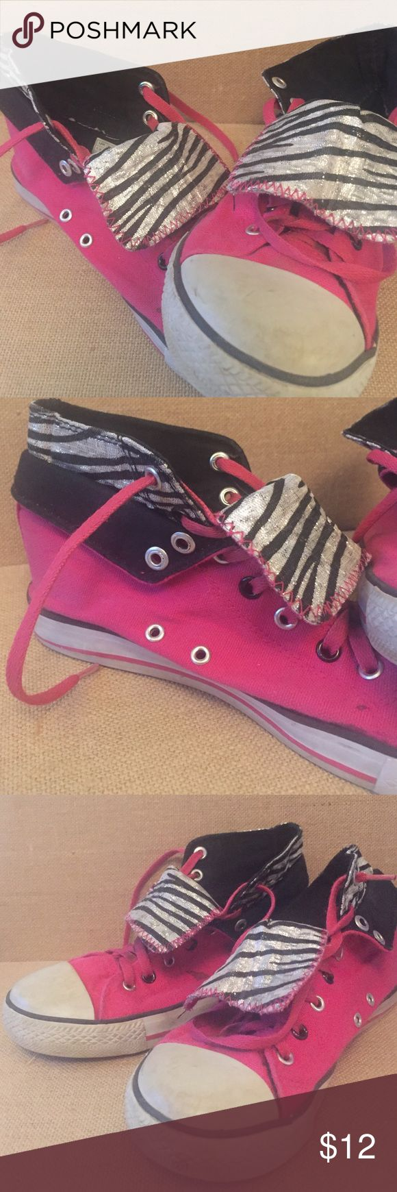 Faux Converse for Girls These are wel loved size 2 faux Converse. They have Hot pink and Sparkly Zebra accents! Your daughter will love them! Converse Shoes Sneakers