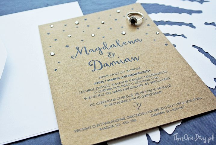 Starry Night Eco Rustic Wedding Invitation