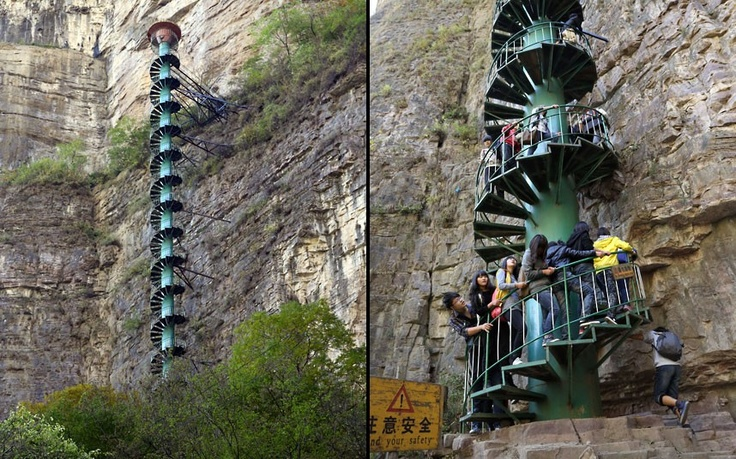 Taihang Mountains in Linzhou, China to take a look at the worlds tallest spiral staircase.: Spirals Staircases, Amazing Spirals, Senior Climbers, Amazing Places, Cliff Faces, Awesome Stairs, Taihang Mountain, Climbers Beware, 300Ft Spirals