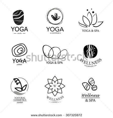 Set of logo elements. Wellness, yoga, spa, health and cosmetics emblem collection.   - stock photo