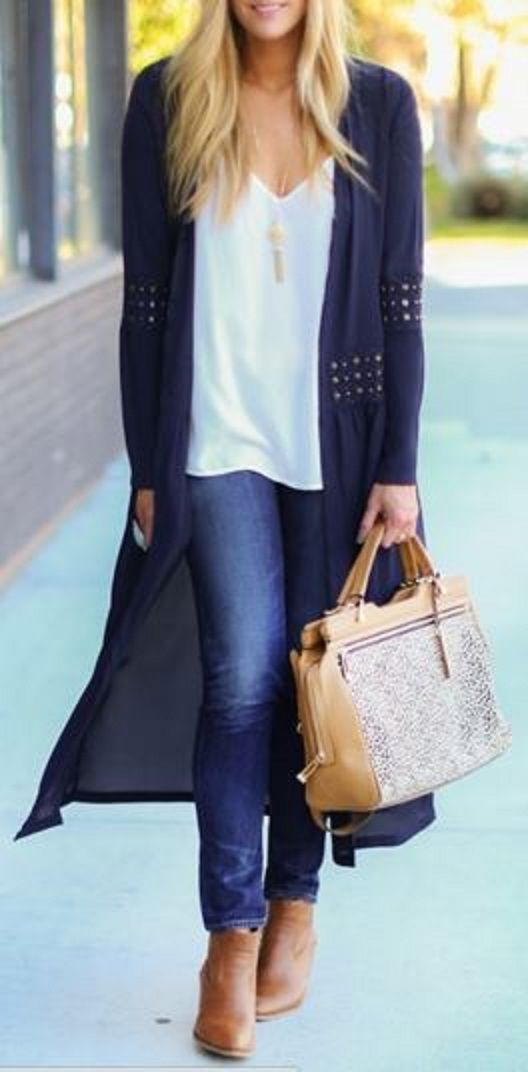 Looks I LOVE! Chiffon Beaded Loose Fitting Solid Color Cover Up #Navy #Blue #Beaded #Cardigan #Fall #Outfit #Ideas