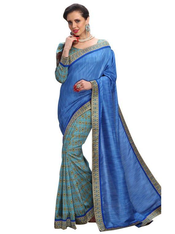 Impressive Sky Blue and Deep Blue Printed saree
