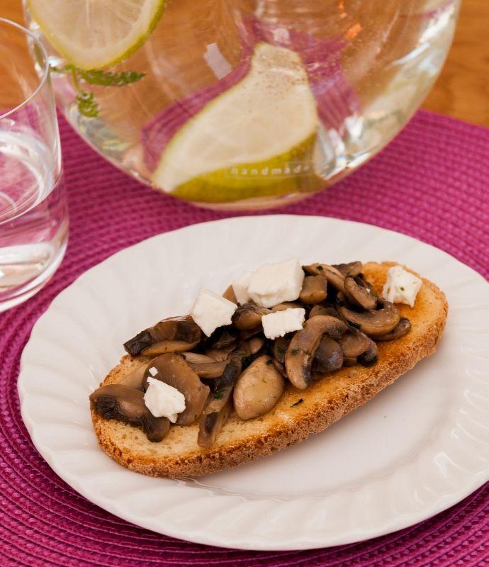 Mushrooms and feta on toast