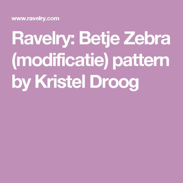Ravelry: Betje Zebra (modificatie) pattern by Kristel Droog