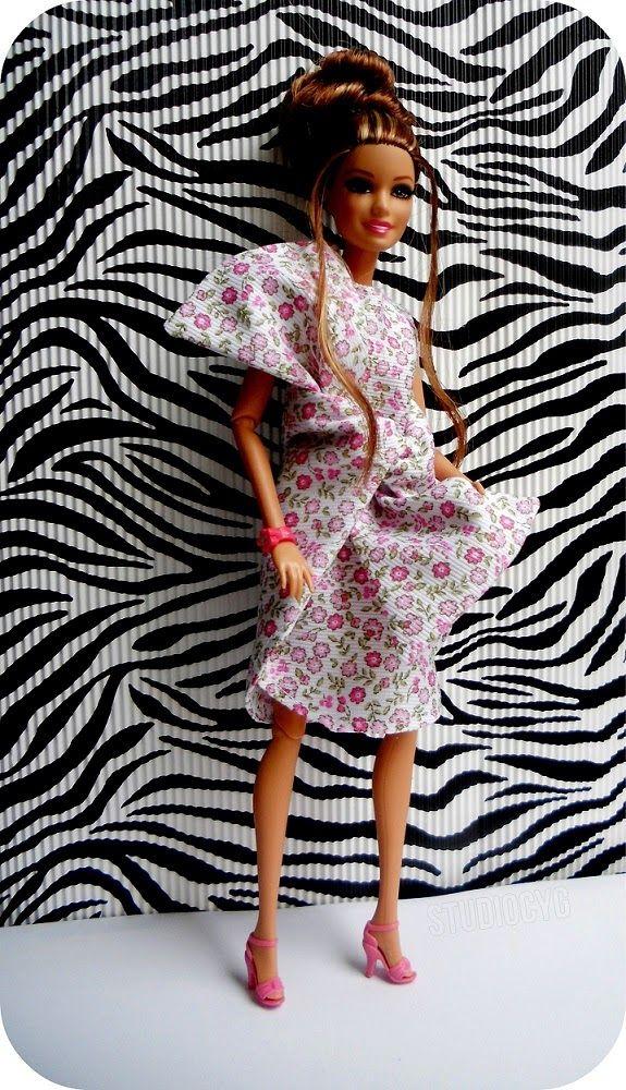 MiniatureCloting: BIG BOW DRESS BARBIE-FLORAL BOW DRESS