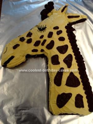 Going to try this for Olivia, 9th b-day party-- she loves giraffes  Homemade Giraffe Cake: My 12 year old daughter loves giraffes. I used two Betty Crocker devils food cake mix as I find they are really light and easy to sculpt.  We made this