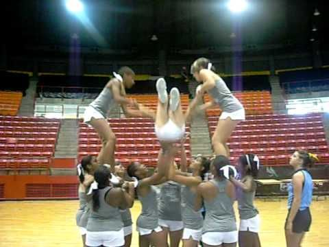 Superman cheer stunt, needs to end in extending lib at least.  I did this in high school and it was so fun! We could totally do this if we have at least 12 girls on the team this year! :)