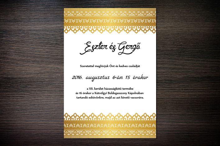 Classic Wedding Invitation, Wedding Invitation, Border Wedding Invitation, Gold Wedding Invitation, Gold Border