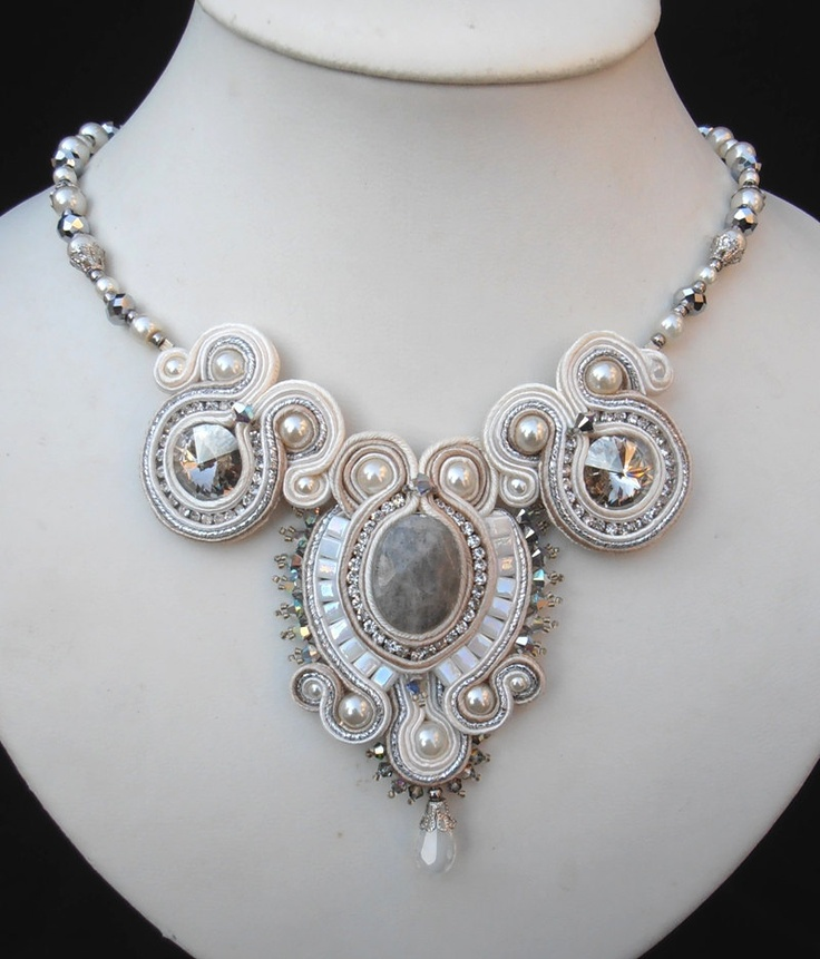 White, Cream and Silver Bridal Soutache necklace. $185.00, via Etsy.